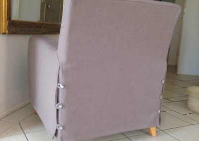 Slip cover on chair rearview